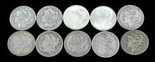 10 Circulated Morgan & Peace Silver Dollar Lot