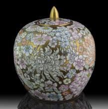 Signed Asian Covered Urn w/ Floral Design
