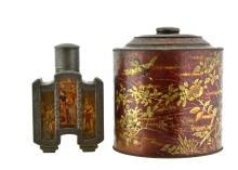 Contemporary Asian Pewter Tea Caddy & Tin