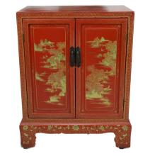 Chinese Red Lacquer Double Door Cabinet