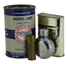 4 Pc. Miners Lamp Union Carbide, Justrite Tin Lot