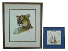 2 Pc. A.J. McCoy Mountain Lion Print & Signed Harbor Print