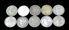 10 Circulated Morgan Silver Dollar Lot