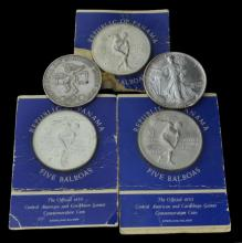 5 Pc. Sterling Silver 5 Balboas & Liberty Coin