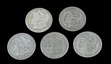 5 Circulated Morgan Silver Dollar Lot #1