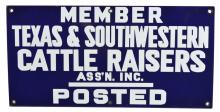Texas & Southwestern Cattle Raisers Association Inc Enamel Sign