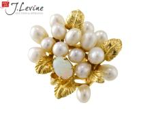14K Yellow Gold Opal & Pearl Ring