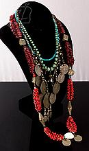 4 Pc. Middle Eastern Silver Beaded Necklace Lot