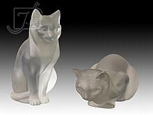 2 Pc. Lalique Crystal Cat Figure Lot