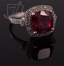 14K White Gold Ruby & White Sapphire Ring