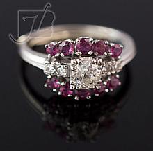 Platinum Vintage Diamond & Ruby Ring