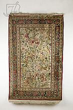 19th C. Oriental Directional Hunting Scene Silk Rug