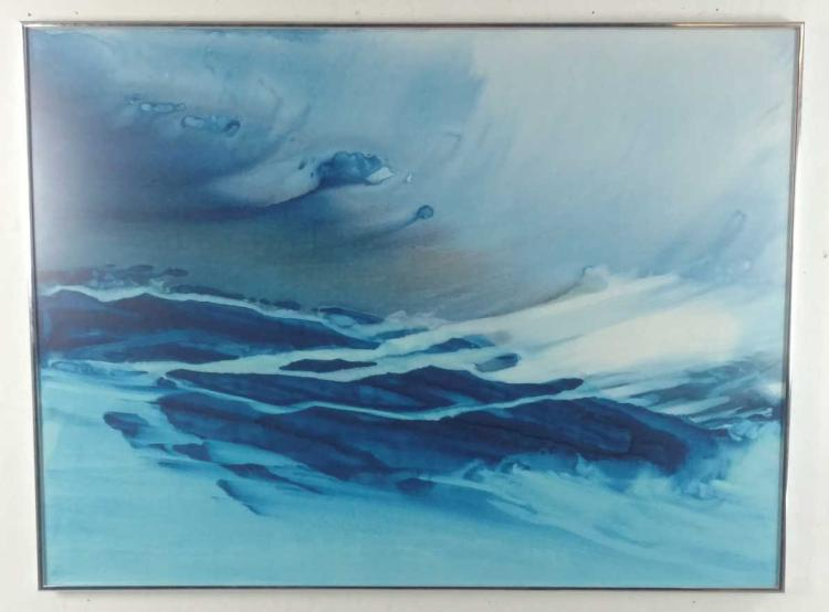 Danz Untitled, Blue Waves Mixed Media