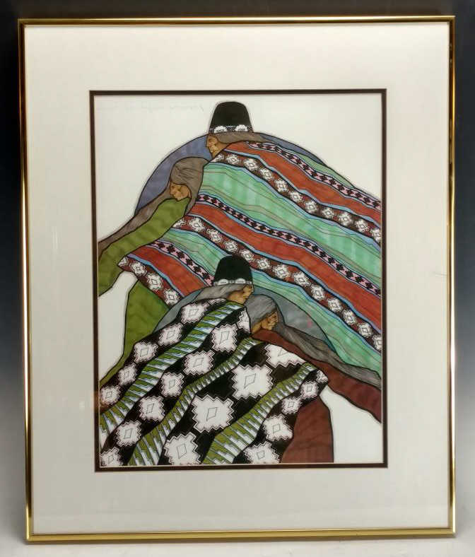 "Amado Pena ""Native Quilts"" Lithograph"