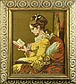 Vintage Framed Needlework, A Woman Reading