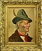 German Oil Painting, Gentleman's Portrait, Feather