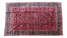 Vintage Maroon Persian Rug w/ Floral & Tree Design