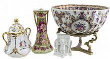 Porcelain Moriage Vase, Covered Pot, Parian Ware