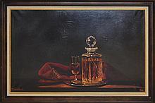 M.W. Higgins Liquor Still Life Oil Painting