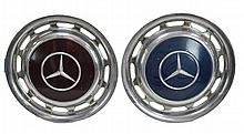 2 Pc. Mercedes OEM Hubcap Set (450 sl) Blue & Red