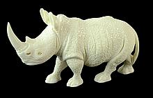 Carved Ivory Rhinoceros Sculpture