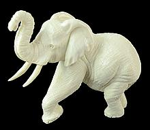 Carved Ivory Elephant Sculpture