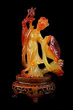 Asian Carved Agate Female Figurine w/ Stand