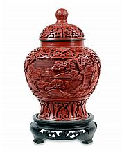 Chinese Cinnabar Carved Lidded Jar Late19th/20th C