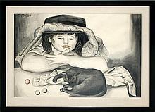 Enrique Grau (1920-2004) Mixed Media Painting