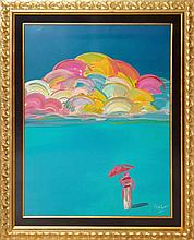 Peter Max (né 1937) Umbrella Sky with Rainbow Man Ltd. Ed. Serigraph