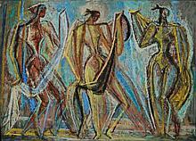 Edna Reindel (1894-1990) Figural Gouache Painting