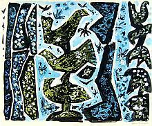 Edna Reindel (1894-1990) Bird Gouache Painting