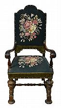 William & Mary Style Chair w/ Bun Feet, Needlework