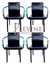 4 Knoll Leather Mandarin Chairs by Ettore Sottsass
