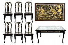 Asian Black Lacquer Table & 6 Chairs, Inlay MOP