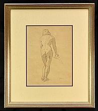 Framed Drawing, Nude Study Leaning, Signed