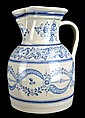 Early Talavera Water Pitcher, Blue & White