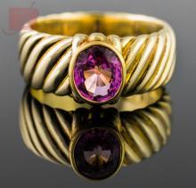 14K Yellow Gold David Yurman Pink Ruby Ring
