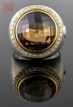 18K Gold & Sterling David Yurman Smoky Quartz Ring