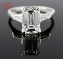Platinum & Emerald-Cut Diamond Engagement Ring