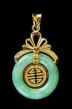18K Gold Jadeite Necklace Pendant