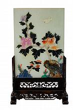 Asian Carved Mineral Stone Plaque & Stand