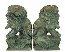 Carved Green Marble Foo Dog Bookend PAIR