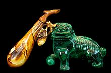 Chinese Carved Malachite, Snuff Bottle Lot