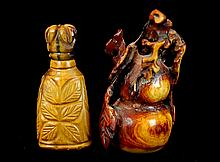 Chinese Carved Tiger Eye & Ivory Snuff Bottle Lot