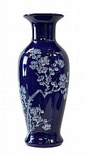 Blue Floral Design Asian Vase