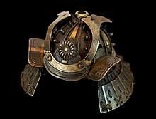 Japanese Silver Samurai Helmet Pillbox
