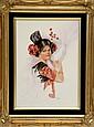 Signed Catherine Iobst Oil on Tile, Portrait