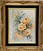 Signed Catherine Iobst Oil on Tile, Roses