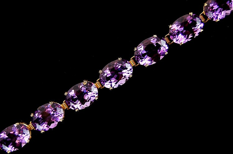 Beautiful 14kt Gold & Amethyst Bracelet